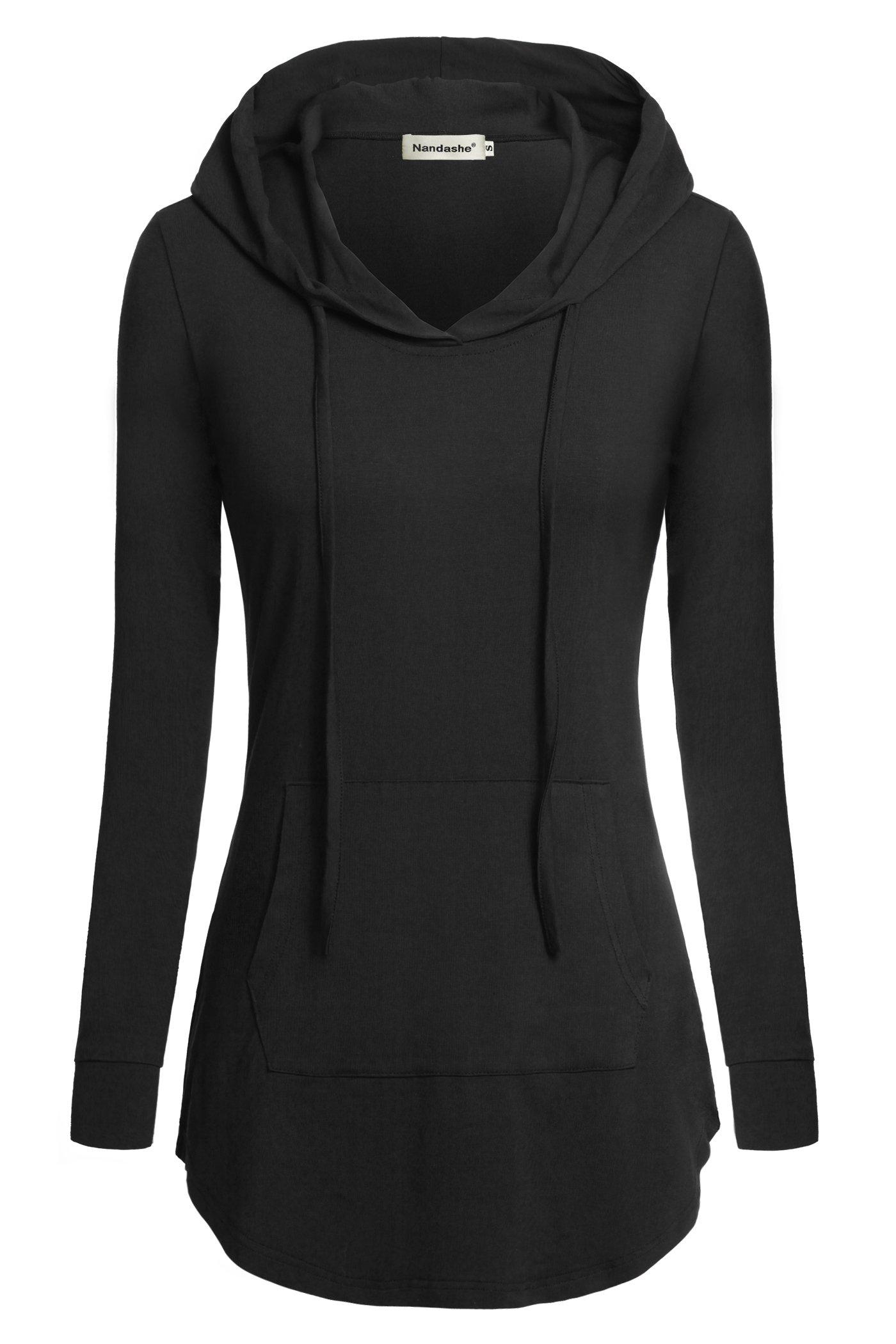 Nandashe Women Hoodies & Sweatshirts, Ladies Elegant Mock Neck Long Sleeve Professional Formal Company Business Office Shirts for Work Special Occasions with Kangaroo Pocket Black Large US Size 10-14