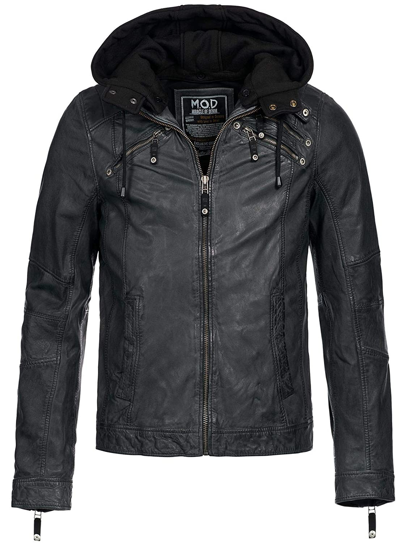 M.O.D Herren Lederjacke LJ567 Biker Style: : Bekleidung