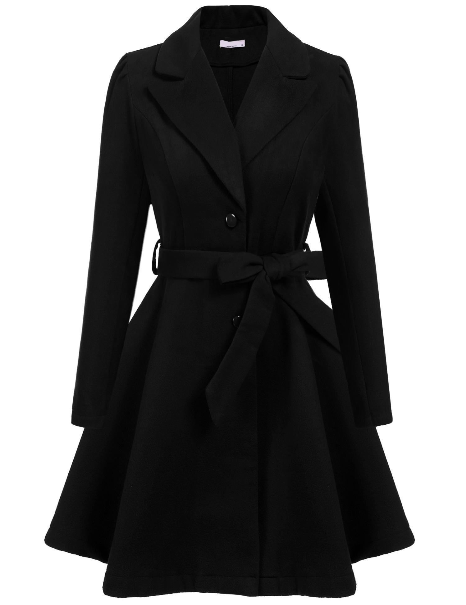 ELESOL Women's Wool Trench Coat Lapel Long Jackets Swing Overcoat Black/XL