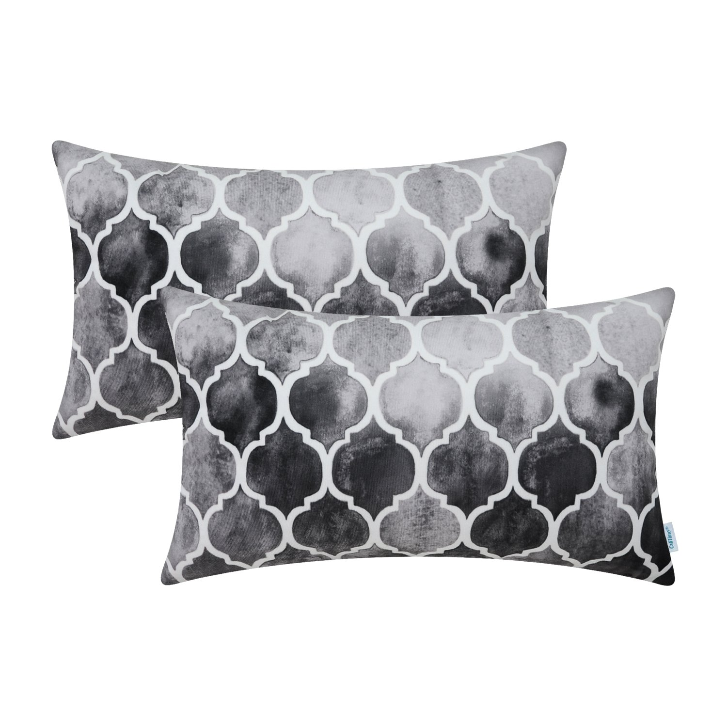 CaliTime Pack of 2 Cozy Bolster Pillow Cases Covers for Couch Bed Sofa, Manual Hand Painted Colorful Geometric Trellis Chain Print, 12 X 20 Inches, Main Gray Grey Carbon