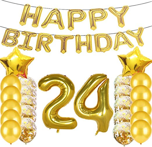 Amazon.com: Sweet 24 cumpleaños decoraciones suministros de ...