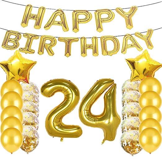 Globos de látex con diseño de número 24 para decoración de ...