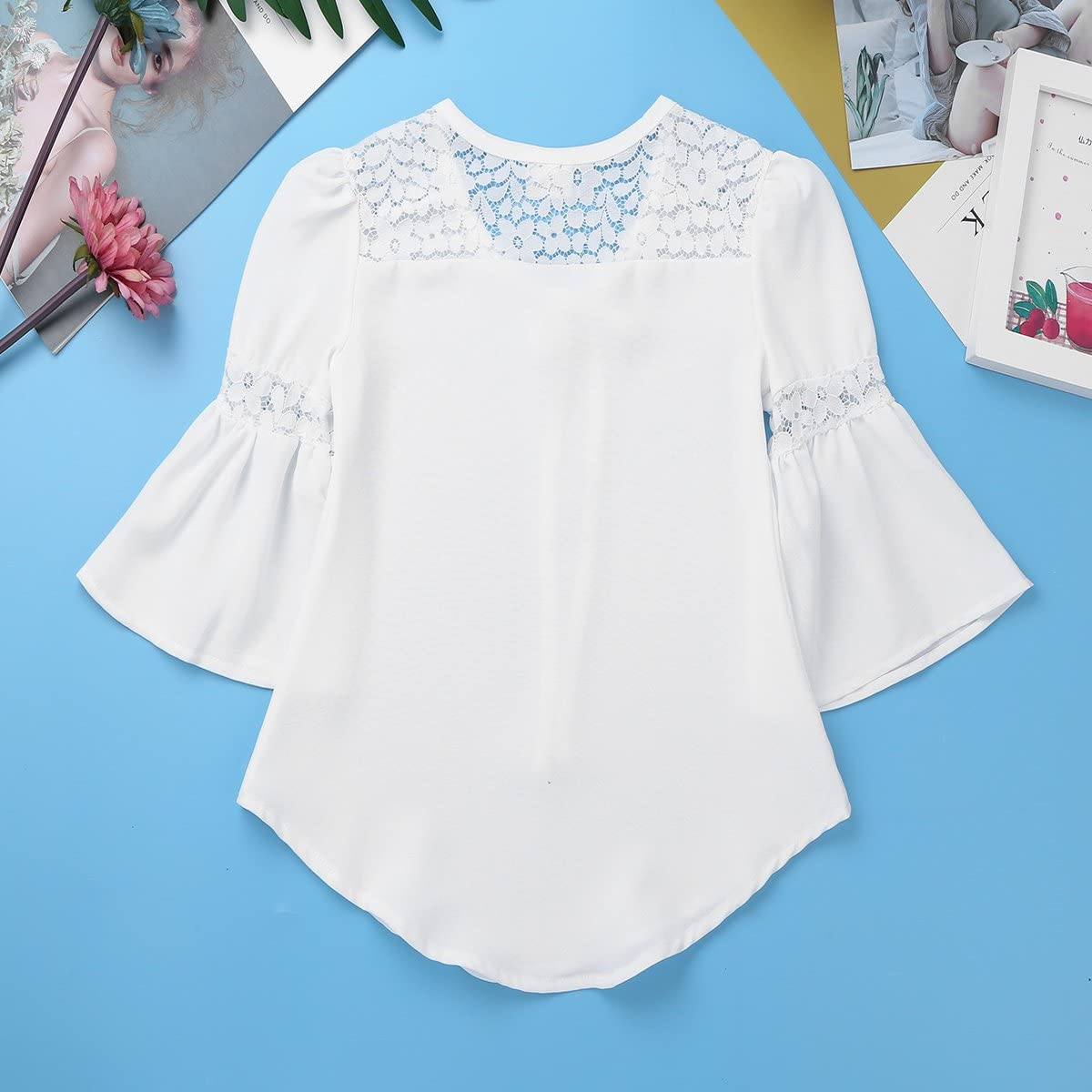 inhzoy Kids Girls 3//4 Bell Sleeves Lace Splice Top Loose White Blouse with Tie-Front Casual Spring Autumn Shirt