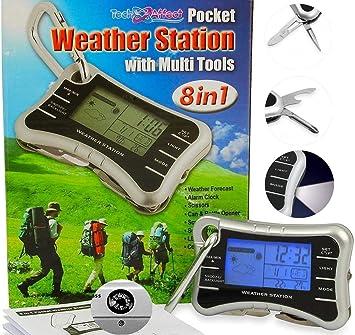 Mini reloj despertador digital estación meteorológica – multiherramienta reloj de viaje con abrebotellas, brújula y antorcha