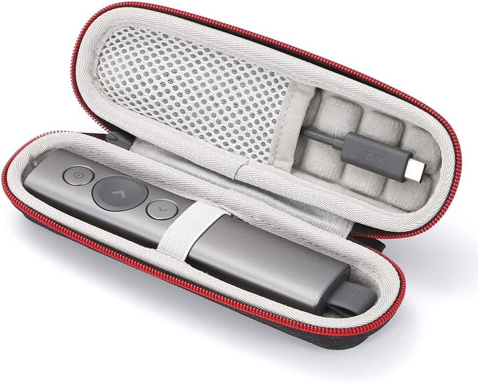 Estuche rígido de viaje para Logitech Spotlight Presentation Remote (para la venta es solo el caso, el dispositivo y los accesorios no están incluidos) - Negro (forro gris)