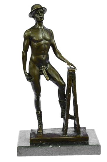 Amazon.Com: Handmade European Bronze Sculpture Signed Nude Male