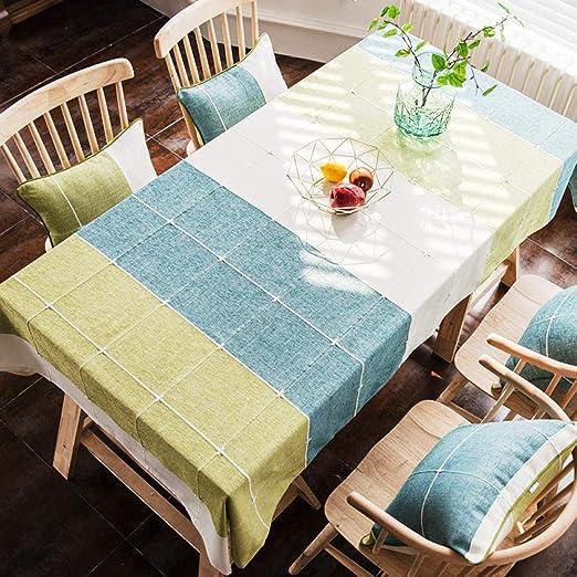 QIGE Manteles Mantel Mesa Mantel De Tela De Algodón Y Lino Pequeña Mesa De Café Fresca Mantel A Cuadros Mantel Cuadrado Mantel Yayoi Marzo Mantel A Cuadros Verde_130 * 200 Cm: Amazon.es: