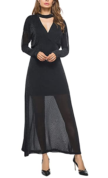Mujer Vestidos De Fiesta Para Bodas Largos De Noche Vestir Elegantes Coctel Manga Larga V Cuello