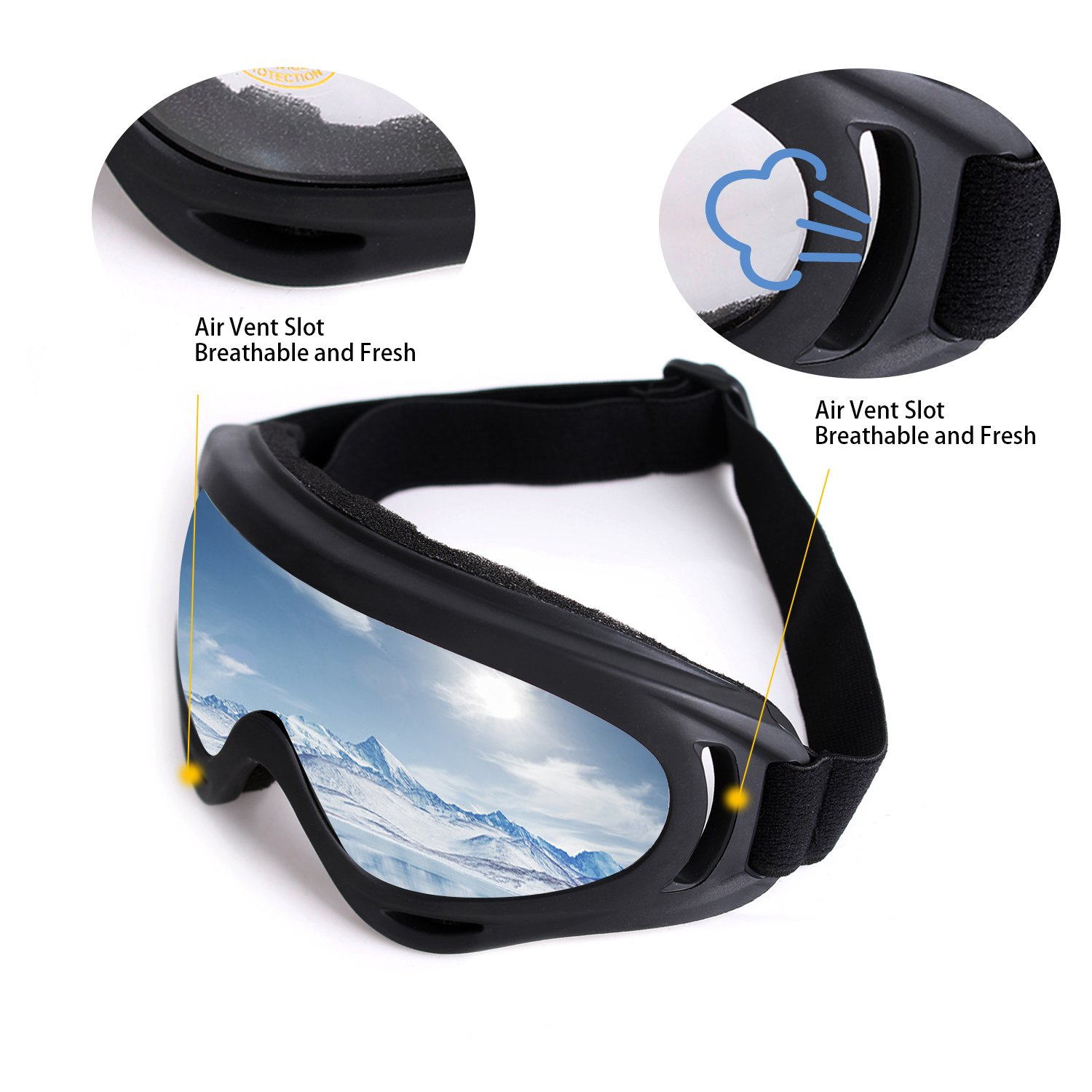 Ski Goggles Skate Glasses with UV 400 Protection Windproof and Dustproof for Men and Women Unigear