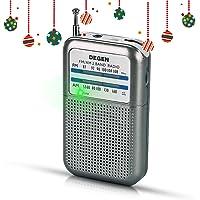 PRUNUS DEGEN-DE333 Mini Transistor Radio Portable de Poche FM/AM, Excellente Réception, Bouton de Réglage avec Indicateur de Signal. Compatible avec Piles Amovibles (AAA)