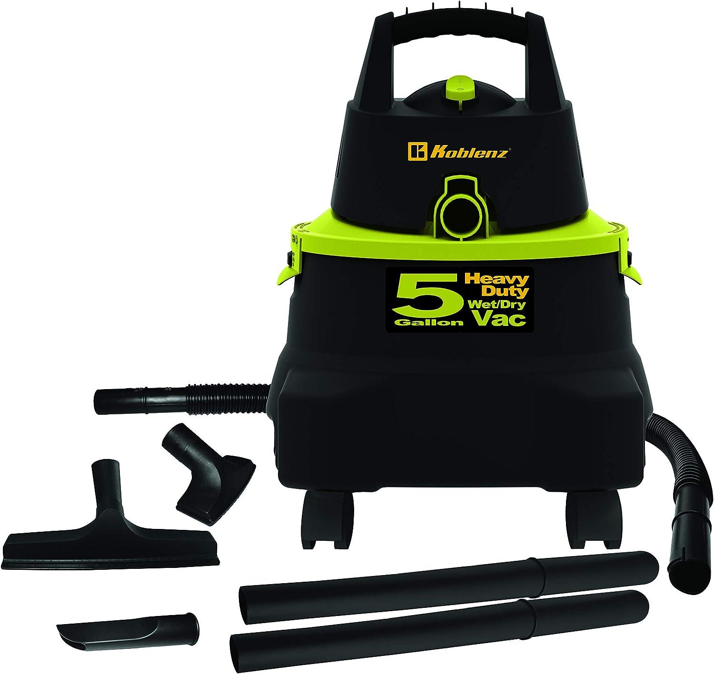 Koblenz WD-5K US 5-Gallon Wet/Dry Vacuum, Black w. Green Accents
