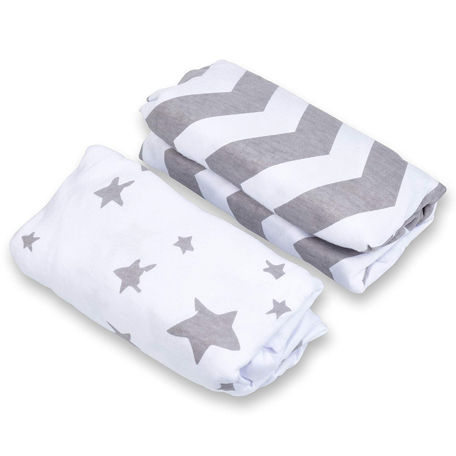 2 Pack Craddle Sheets Changing Pad Cover Set 100/% Jersey Cotton Fabric Unisex Stylish Gray Chevron and Star Prints.