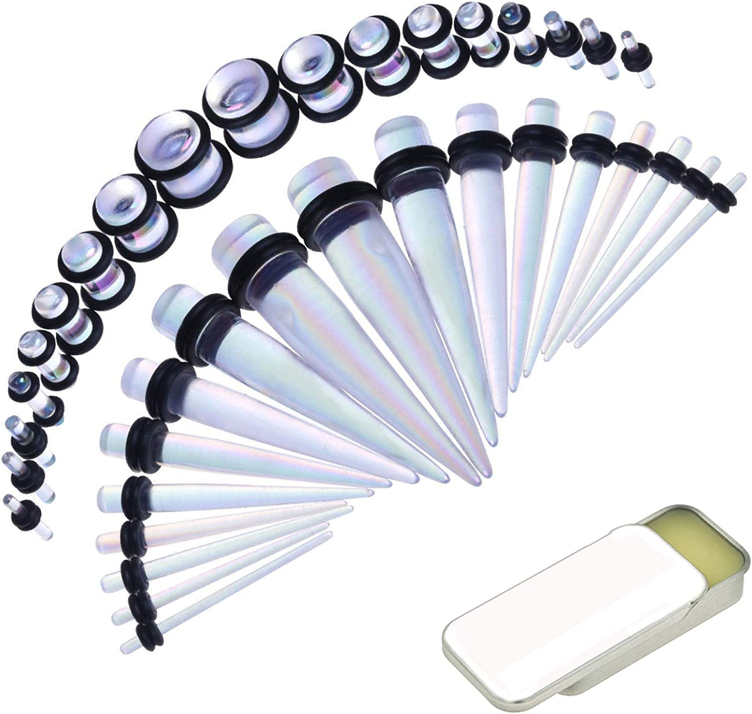 BodyJ4You 36PC Gauges Kit Ear Stretching 14G-00G Steel Tapers Marble Plugs Set