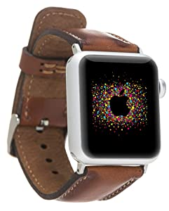 Custom Apple Watch Leather Band 44mm 42mm 40mm 38mm Series 6-5-4-3-2-1 Dark Brown Genuine Leather Handmade iWatch Strap for Man or Women, Personalized Christmas Gift, High Quality Watch