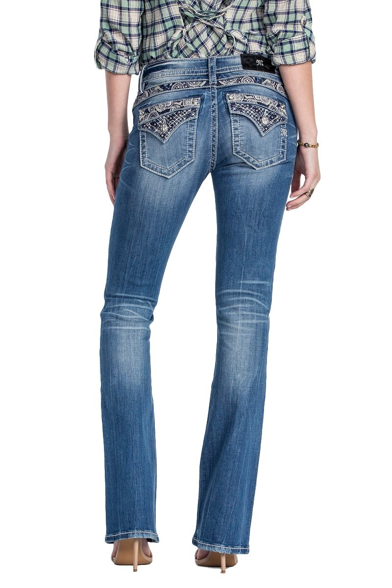 Miss Me Jeans Women's High Tide Paisley Swirl Yoke & Pocket Medium Wash Boot Cut (26) by Miss Me