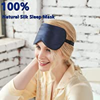 ZIMASILK 100% Natural Silk Sleep Mask Blindfold,Adjustable Super-Smooth Soft Eye Mask for Sleep with Bag(Navy Blue)