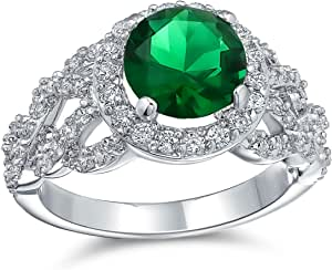 Art Deco Style Personalized 3CT Round Cubic Zirconia Pave Simulated Emerald Green Solitaire Statement Ring Silver Plated Brass Custom Engraved