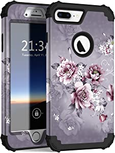 Hocase iPhone 8 Plus Case, iPhone 7 Plus Case, Heavy Duty Shockproof Protection Hard Plastic+Silicone Rubber Hybrid Protective Case for iPhone 7 Plus/iPhone 8 Plus - Light Purple Flowers