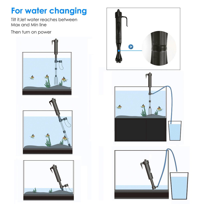 Bedee Aspirateur électrique pour aquarium, Nettoie les graviers, le sable et filtre l\'eau
