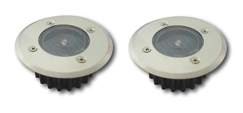 2x LED Solar Gartenstrahler Bodenleuchte Bodeneinbaustrahler Wegbeleuchtung rund