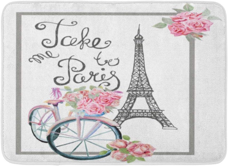 Alfombras de baño Alfombras de baño Alfombra de puerta exterior / interior Signo vintage rosado Llévame a París Torre Eiffel Acuarela Retro Bicicleta y rosas Decoración de baño Francia Alfombra Alfomb: Amazon.es:
