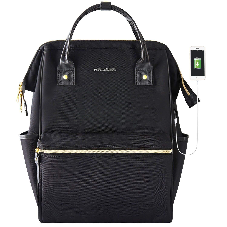 KROSER Laptop Backpack 15.6 Inch Stylish School Computer Backpack Casual Daypack Laptop Bag Water Repellent Nylon Business Bag Tablet with USB Port for Travel/Business/College/Women/Men-Black by KROSER