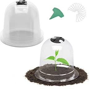GROWNEER 6 Packs 10 Inches Garden Cloche Dome Plant Bell Protector Cover with 15 Pcs Plant Labels and 18 Pcs Ground Securing Pegs, Plastic Mini Greenhouse for Frost Freeze Cold Plant Protection