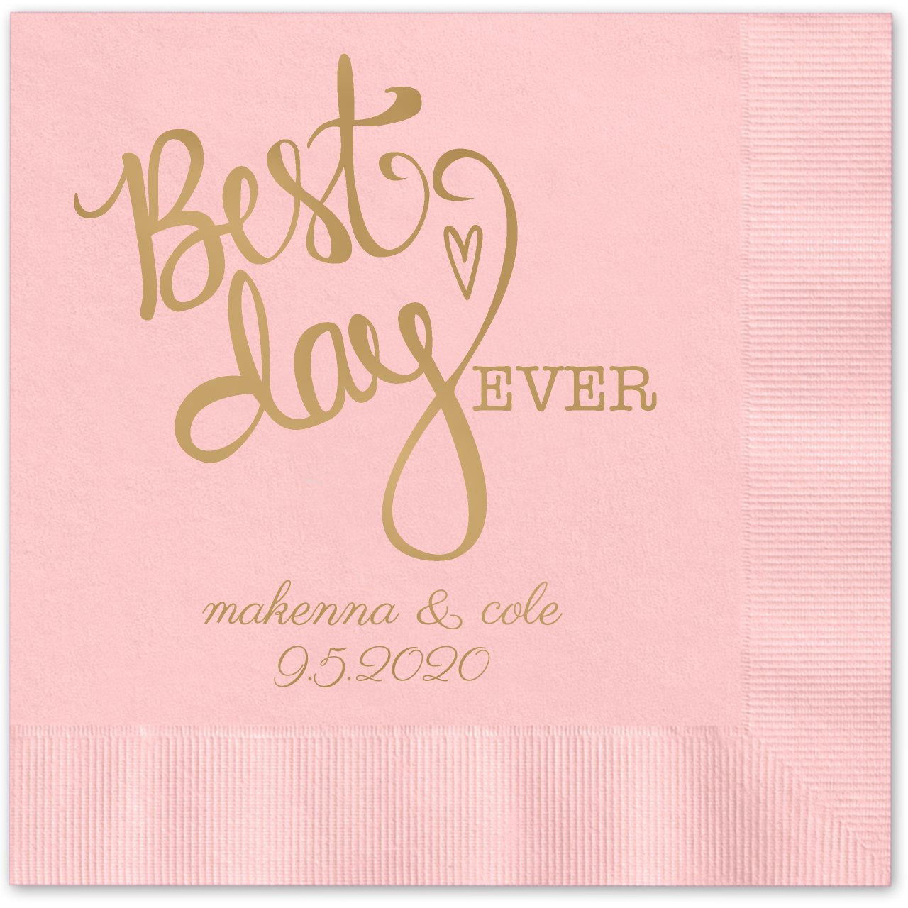 Canopy Street Best Day Ever Heart Personalized Beverage Cocktail Napkins - 100 Paper Napkins with Choice of foil