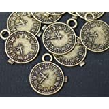10 x Antique Bronze Watch Clock Charms with Jump Rings included for attachments. Universal use for Jewellery Making, Card Making and Scrap-Booking. Check out our Fantastic Wide Range of Beads, Charms and Findings. (Ref9B45)