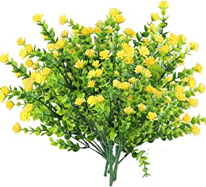 6Pcs Artificial UV Resistant Flowers Outdoor Fake Mums Daisies Plants Greenery Yellow Fall Mums Plastic Flowers Farmhouse Plants Shrubs for Hanging Planter Garden Cemetery Sidewalk Kitchen Decor