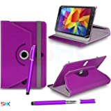 """SAMSUNG Galaxy Tab 4 7.0"""" Inch DARK PURPLE 360 Degree Rotating Tablet Case PU Leather Flip Wallet Spring Stand Case Cover + 2 in 1 Ball Pen Touch Stylus Pen (SHK7) SVL107 BY SHUKAN®, (PURPLE)"""