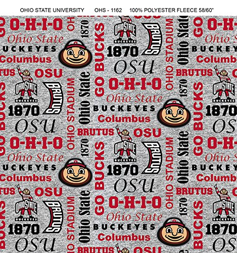 (Ohio State Fleece Blanket Fabric-Ohio State Buckeyes Heather Grey Fleece Fabric Sold by The Yard)