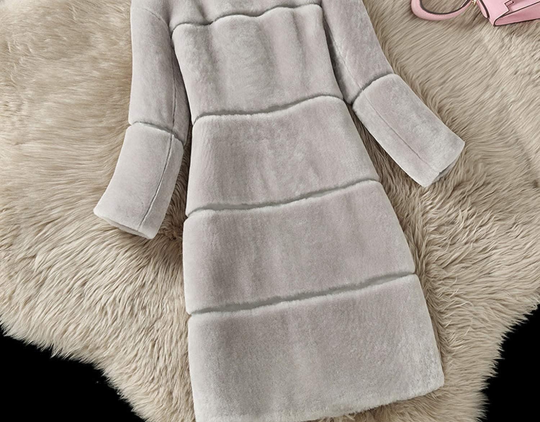 Daking-store Cappotto da Donna in Pelliccia di Pecora, per Autunno e Inverno, con Collo di Pelliccia di Volpe, Lungo e Sottile, a Maniche Lunghe Grigio Chiaro
