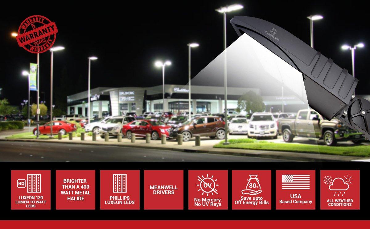 300 Watt NextGen LED Parking Lot Lights - 40,000 Lumen - Super Efficiency 130 Lumen to Watt - 5000K Bright White - Replaces 1000W Halide - LED Shoebox Lights - Slip Fit Mount - With photocell by RuggedGrade (Image #9)