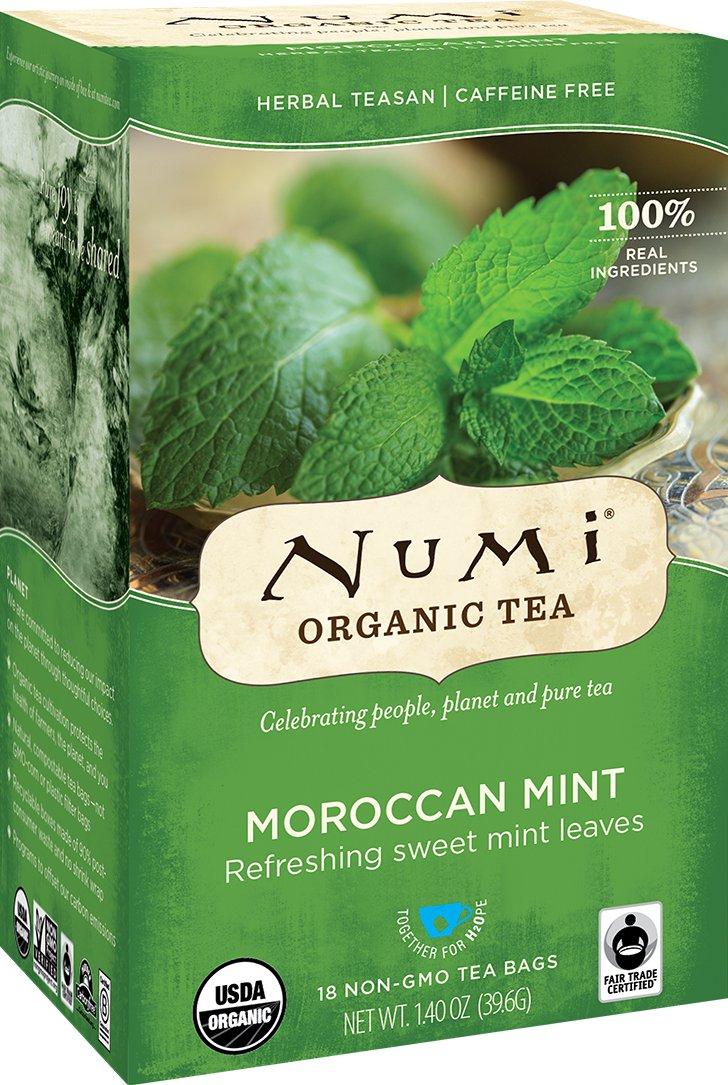 Numi Organic Tea Moroccan Mint, (Pack of 3 Boxes) 18 Bags per Box, Premium Caffeine-Free Herbal Tisane, Premium Organic Non-Caffeinated Tea in Non-GMO Biodegradable Tea Bags