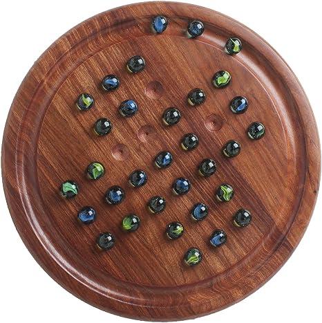 storeindya - Juego de mesa de madera solitario con bolas de cristal de color de mármoles para niños de familia: Amazon.es: Hogar