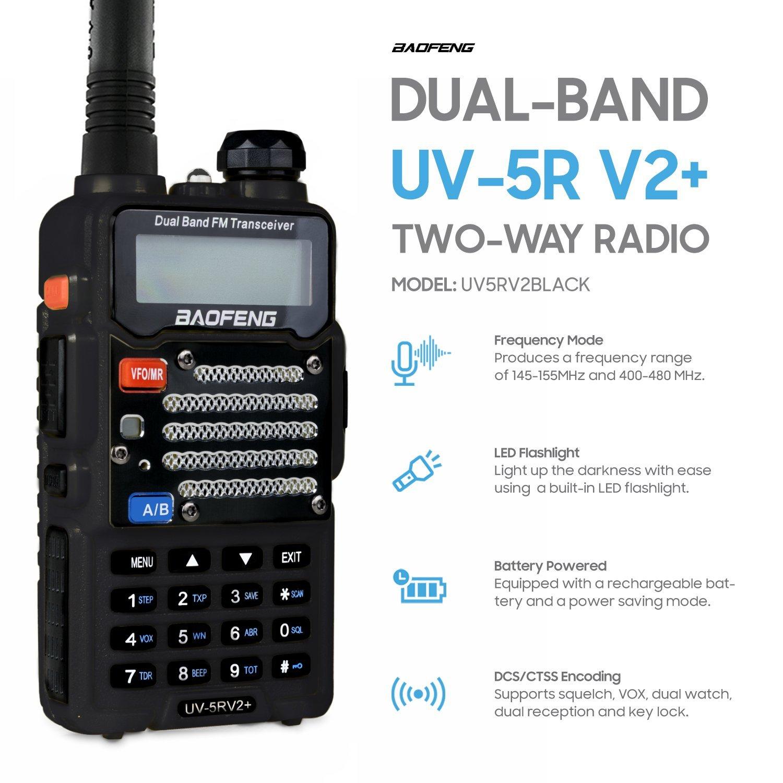 Baofeng Black UV-5R V2+ Plus (USA Warranty) Dual-Band 145-155/400-480 MHz FM Ham Two-way Radio, Improved Stronger Case, Enhanced Features by Baofeng Radio US (Image #3)