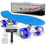 SPOLVE 55cm Komplettes Skateboard mit bunten LED-Leuchten f¡§1r Kinder, Jugendliche, Anf?nger