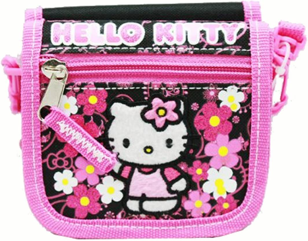 Hello Kitty String Wallet Flowers Black