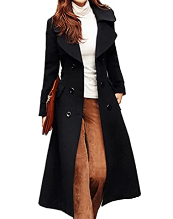 fdd18f1112 Image Unavailable. Image not available for. Color  S S Women Trendy Sexy  Lapel Solid Belted Woolen Outwear Long ...