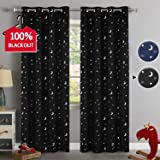 100% Blackout Curtains Starry Night Twinkle Moon