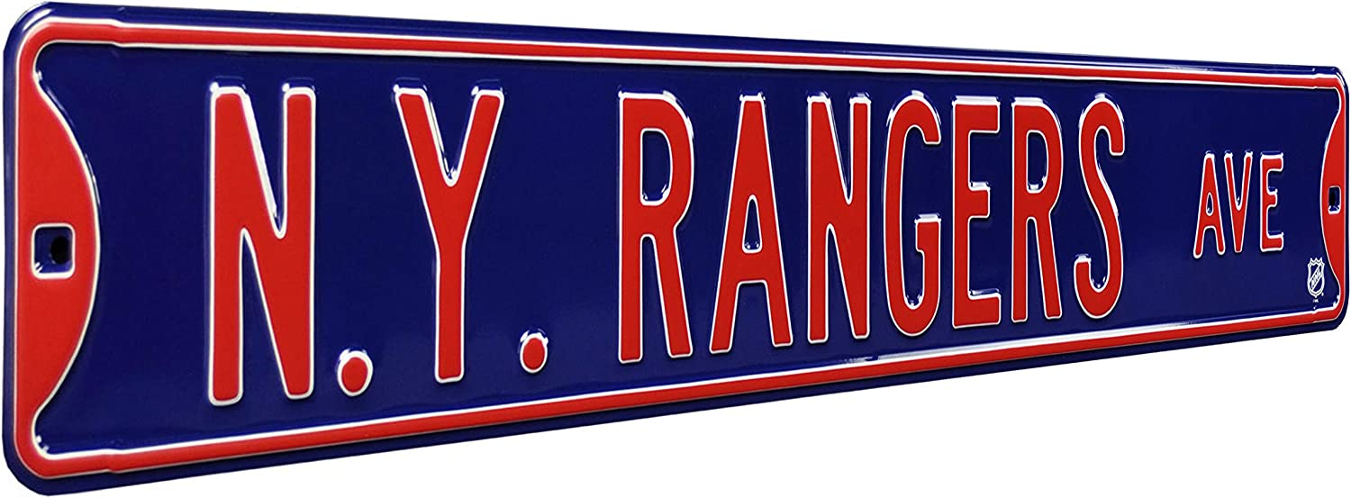 NHL New York Rangers Ave, Metal Wall Decor- Large, Heavy Duty Steel Street Sign – Hockey Wall Decor for Dorm Room Decorations, Man Cave Decor, Office and Gifts