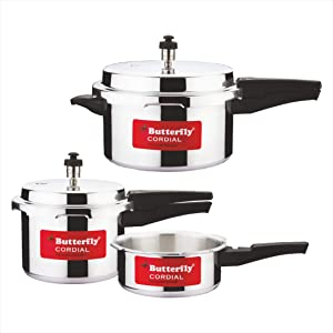 Butterfly Cordial 2 L, 3 L & 5 L Non Induction Bottom Pressure Cooker (Aluminium)