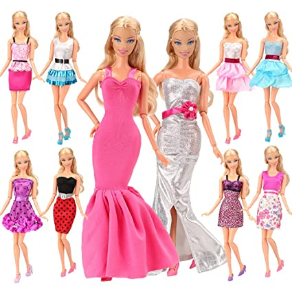 b205bdb2c31 Amazon.com  BARWA 5pcs Fashion Dress Handmade Short Party Gown Doll Clothes  for 11.5 inch Dolls  Toys   Games