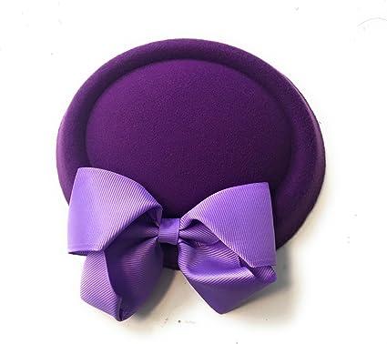 Cadbury Purple   Lavender Bow Pillbox Wedding Hat Ladies Headpiece Felt  Hatinator Fascinator 3154eee4910
