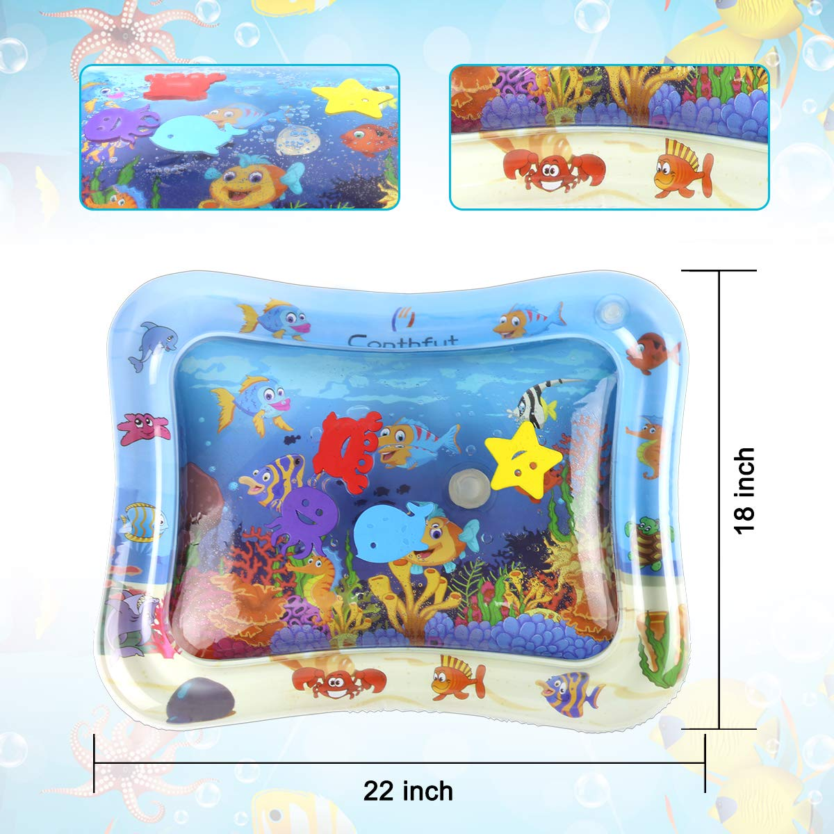 Conthfut Kids Inflatable Water mat 22x18in Fun Water mat Activity Center Leakproof PVC Water Filled Playmat for Newborns for Infants /& Toddlers