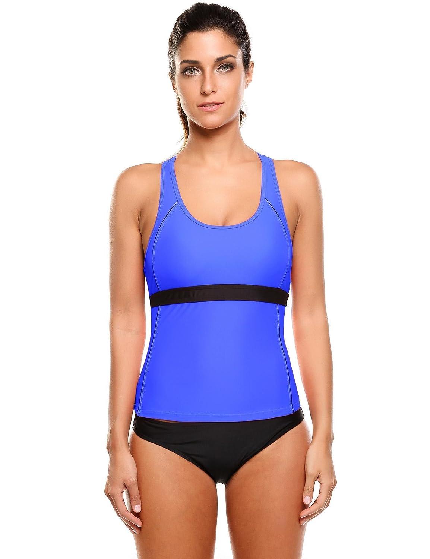 Ekouaer Two Piece Swimsuits Womens Racerback Tankini Top Sets Swimwear S-XXL EKK005938#