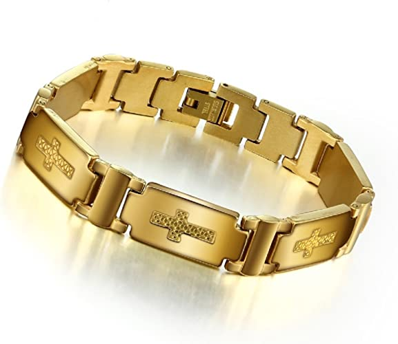 Gold 18K Überzog Herren Edelstahl Kandare Verbindungs Armband U8O6