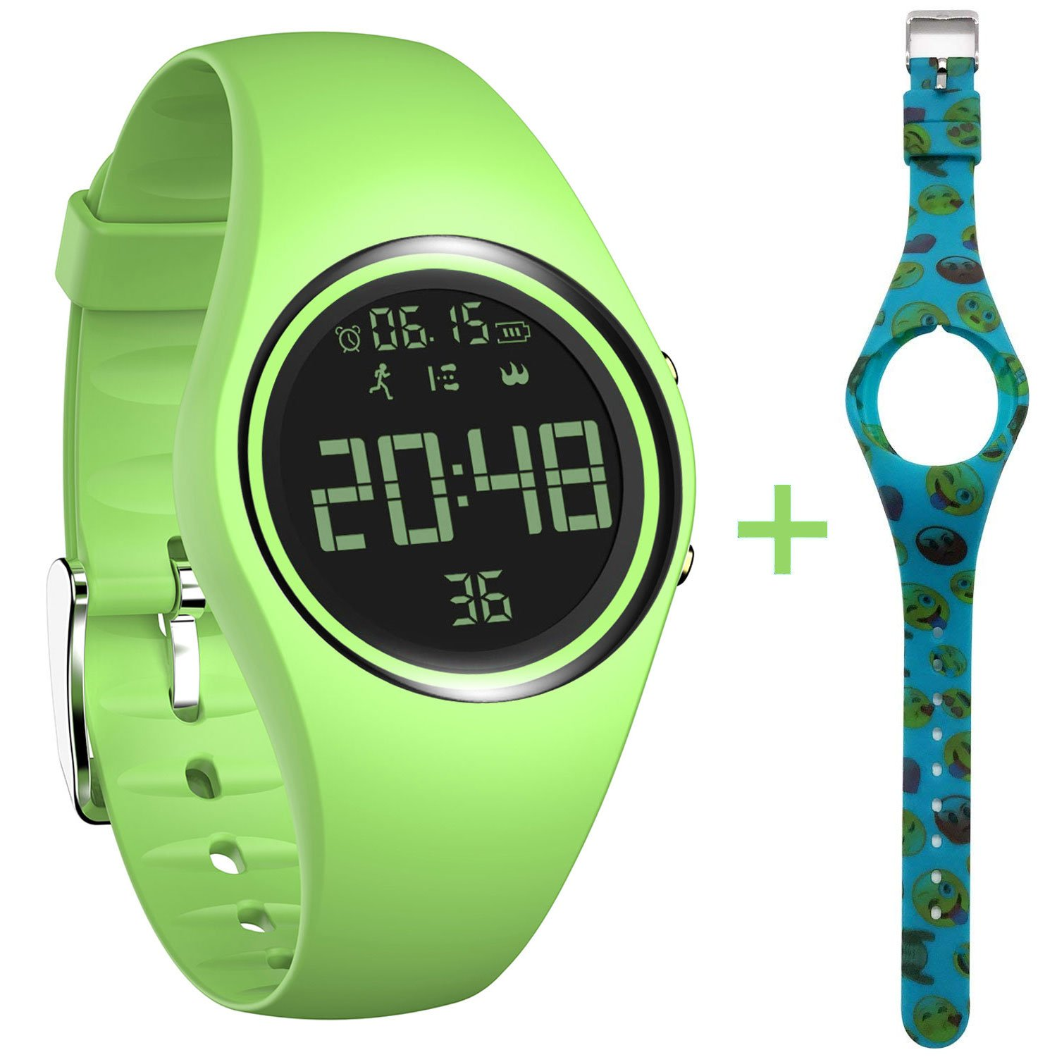 feifuns Fitness Tracker Smart Watch Non-Bluetooth Pedometer Bracelet Smart Sport Bracelet with Timer Step Calories Counter Distance Time/Date Vibration Alarm for Walking Kids Women Men (Green+Band) by feifuns