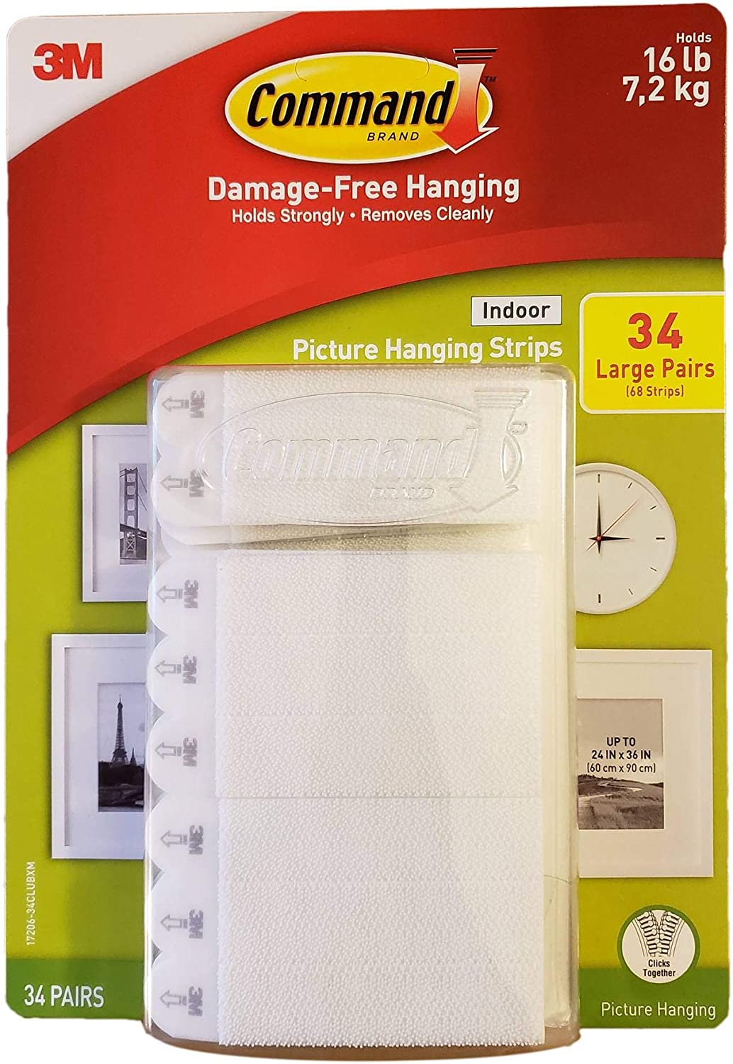 Indoor Picture Hanging Strips 34 Large Pairs 68 Strips